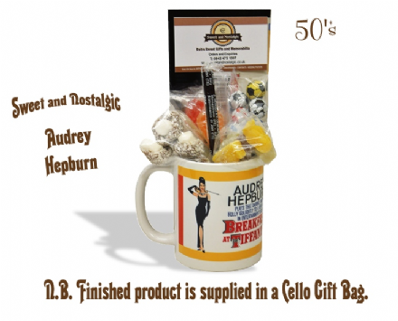 Audrey Hepburn Mug with/without 1950's Traditional Sweets